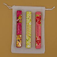 Dárková sada parfémů unisex EXOTIKA: 3 x 10 ml roll on Sandalwood + Malibu Lemon Blossom + Hawaiian Ruby Guava + lněný pytlík