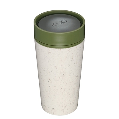 Kelímek rCUP krémový/zelený Green life, 340 ml