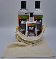 Kokosová dárková sada - tělové mléko (150 ml), 2x 400 ml: šampon a kondicionér + lněný pytlík