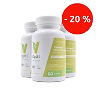 Opti3. Omega - 3 EPA & DHA, s vitamínem D, 60 kapslí, sada 3 ks se slevou 20 %