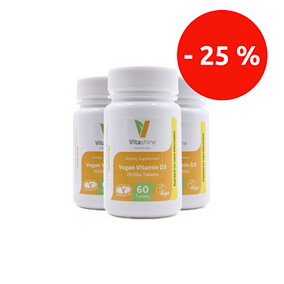 Vitashine tablety. Vitamín D3 2500 IU, 60 tablet, sada 3 ks se slevou 25 %