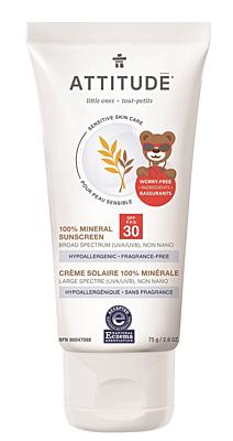 Dětský 100% minerální opalovací krém SPF 30 pro citlivou a atopickou pokožku bez vůně, 75 g