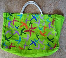 Textilní taška pro každodenní užití, zelená s ptáky